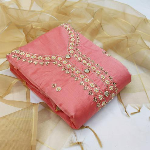 Innovative Pink Colored Partywear Embroidered Modal Chanderi Dress Material