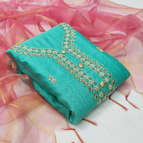Eye-catching Turquoise Blue Colored Partywear Embroidered Modal Chanderi Dress Material