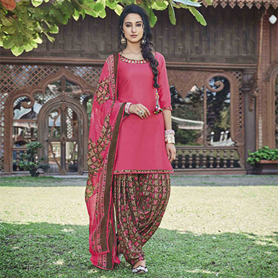 Lovely Pink Colored Casual Wear Printed Heavy Cotton Patiala Dress Material