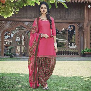 Lovely Pink Colored Casual Wear Printed Heavy Cotton Patiyala Dress Material