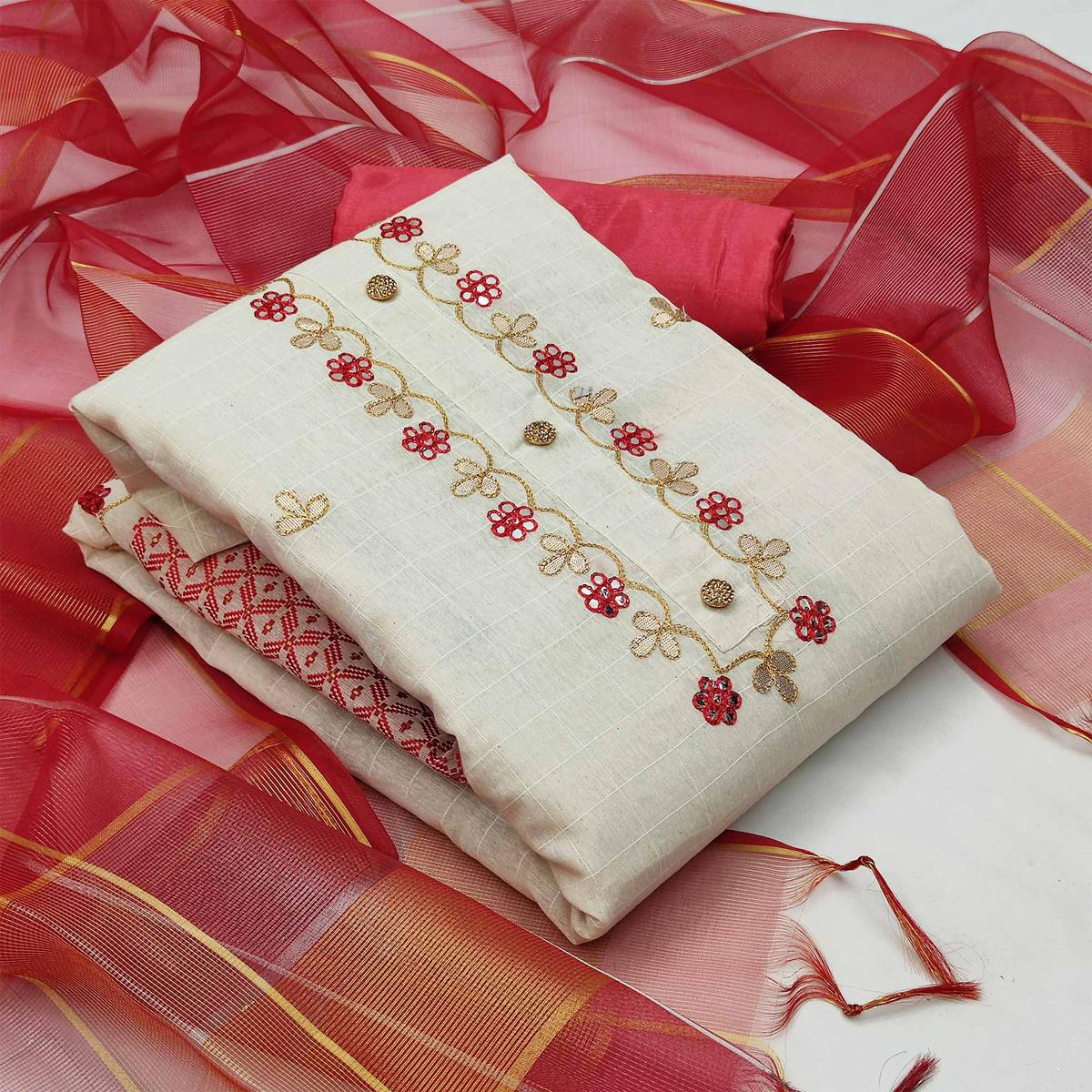 Sophisticated White - Red Colored Partywear Embroidered Modal Chanderi Jacquard Dress Material