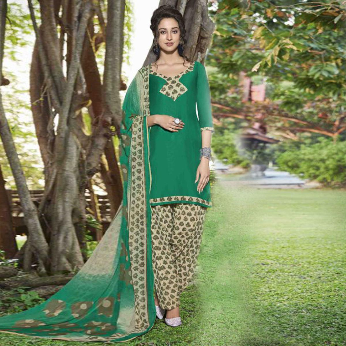 Classy Green Colored Casual Wear Printed Heavy Cotton Patiyala Dress Material