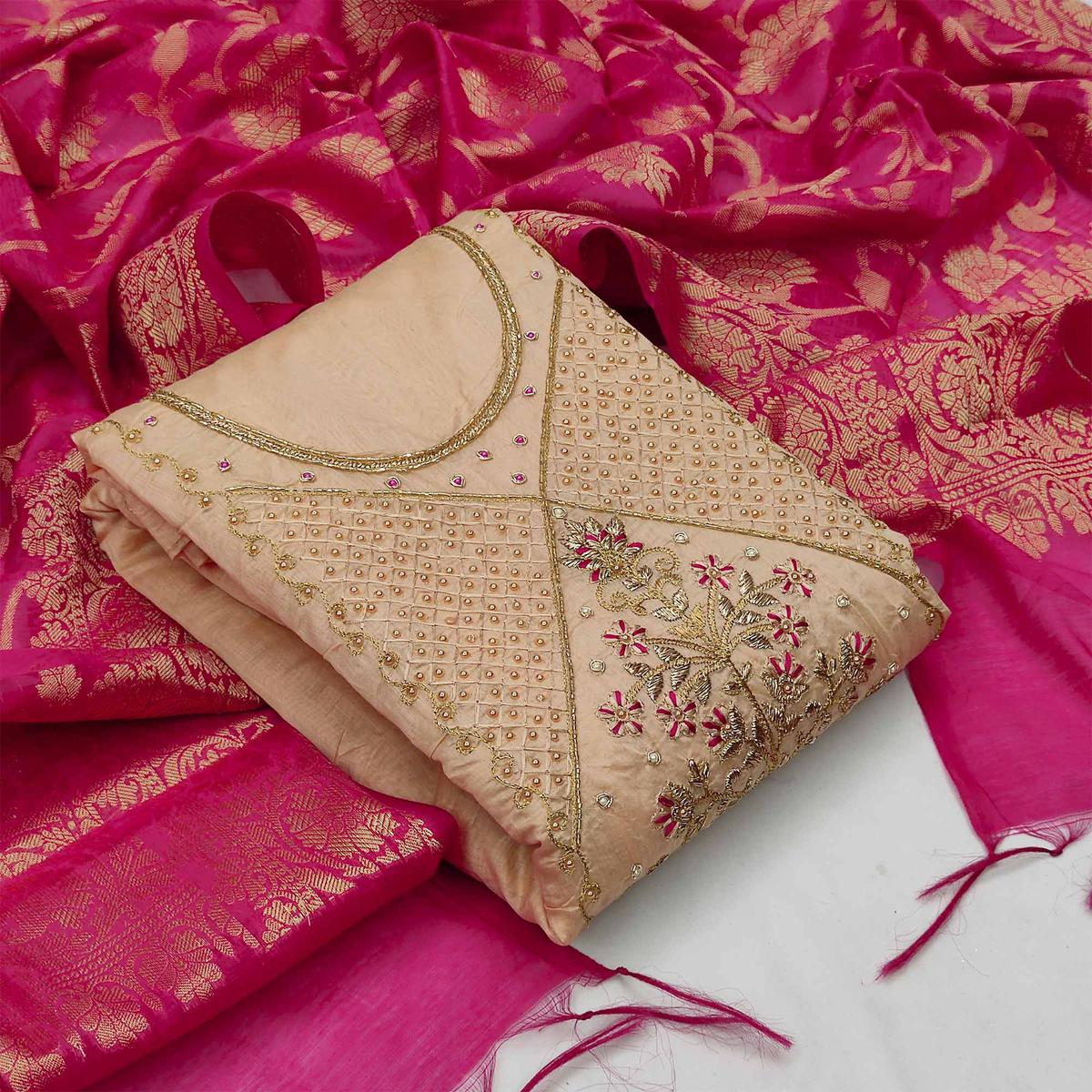 Refreshing Beige Colored Partywear Embroidered Modal Chanderi Dress Material