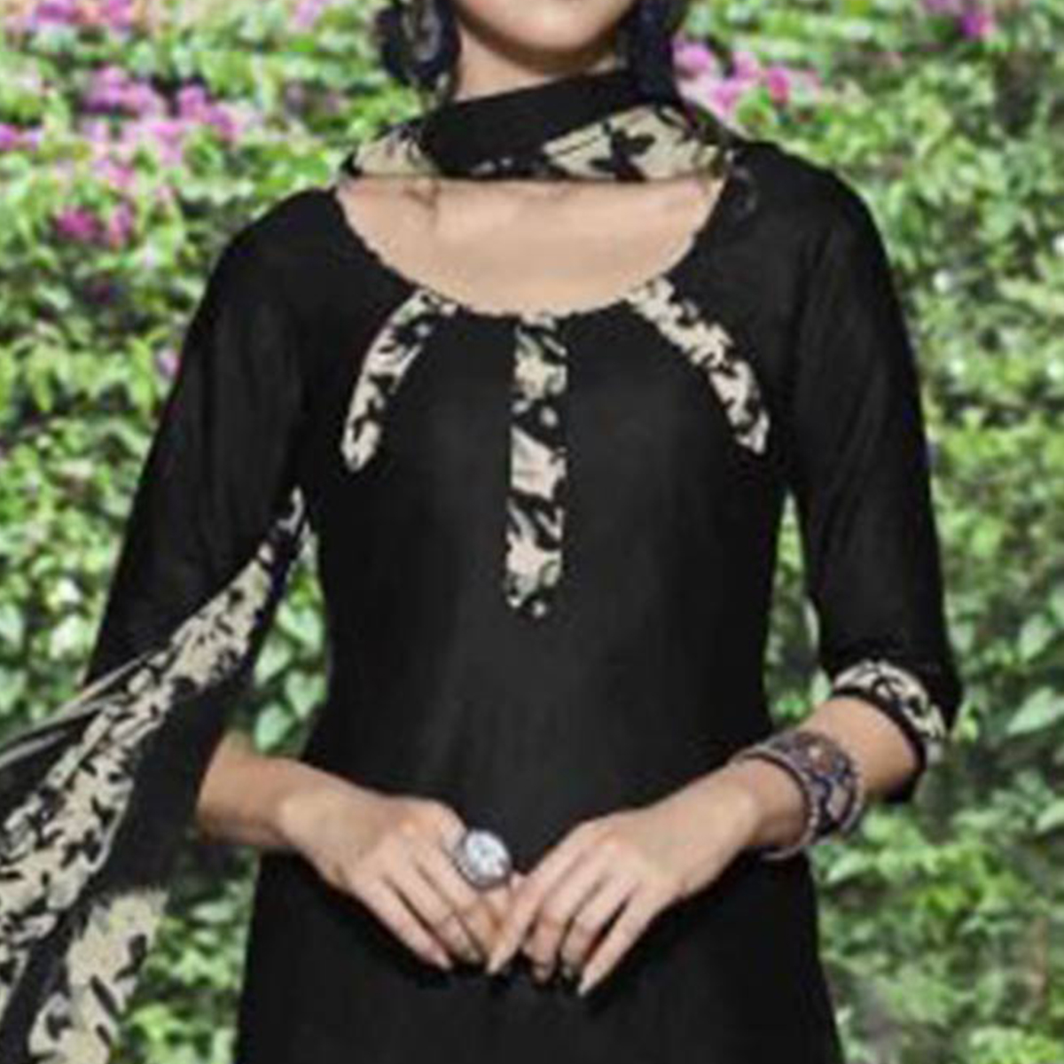 Stunning Black Colored Casual Wear Printed Heavy Cotton Patiyala Dress Material