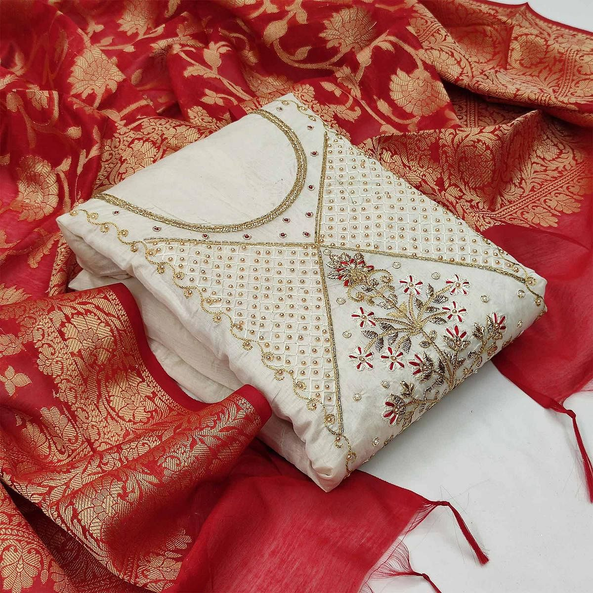Magnetic White Colored Festive Wear Embroidered Modal Chanderi Dress Material