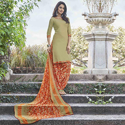 Elegant Beige Colored Casual Wear Printed Heavy Cotton Patiala Dress Material