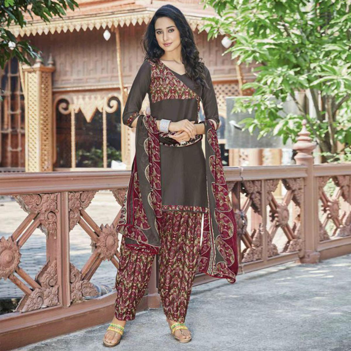 Beautiful Brown Colored Casual Wear Printed Heavy Cotton Patiala Dress Material