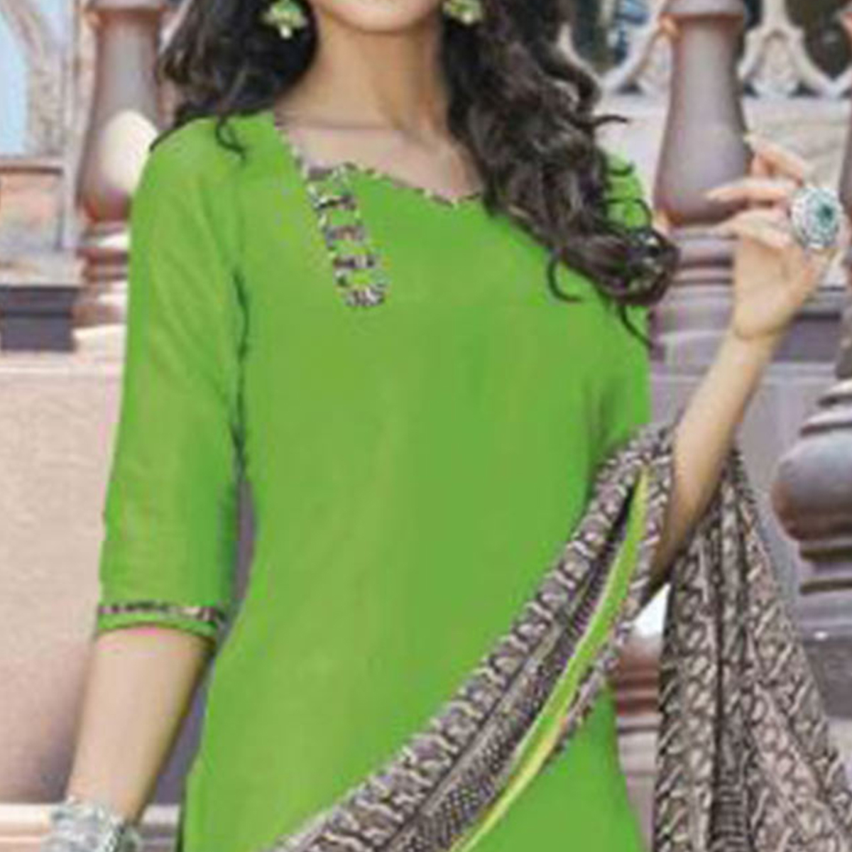 Lavishing Green Colored Casual Wear Printed Heavy Cotton Patiala Dress Material