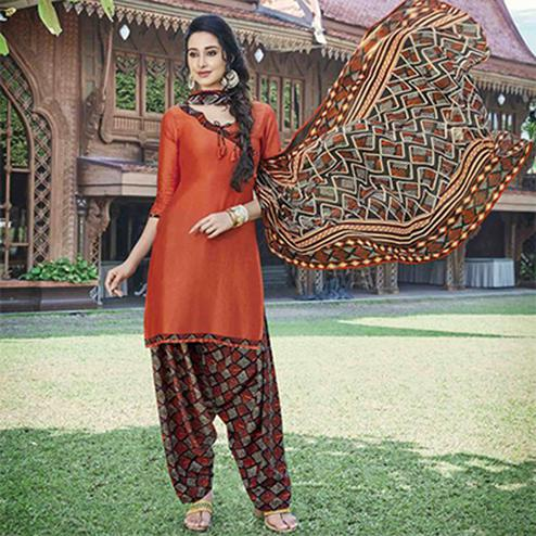Adorable Orange Colored Casual Wear Printed Heavy Cotton Patiyala Dress Material