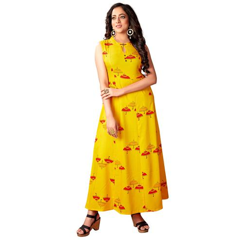 Blissta Women's Mustard Coloured  Rayon Printed Anarkali Kurti
