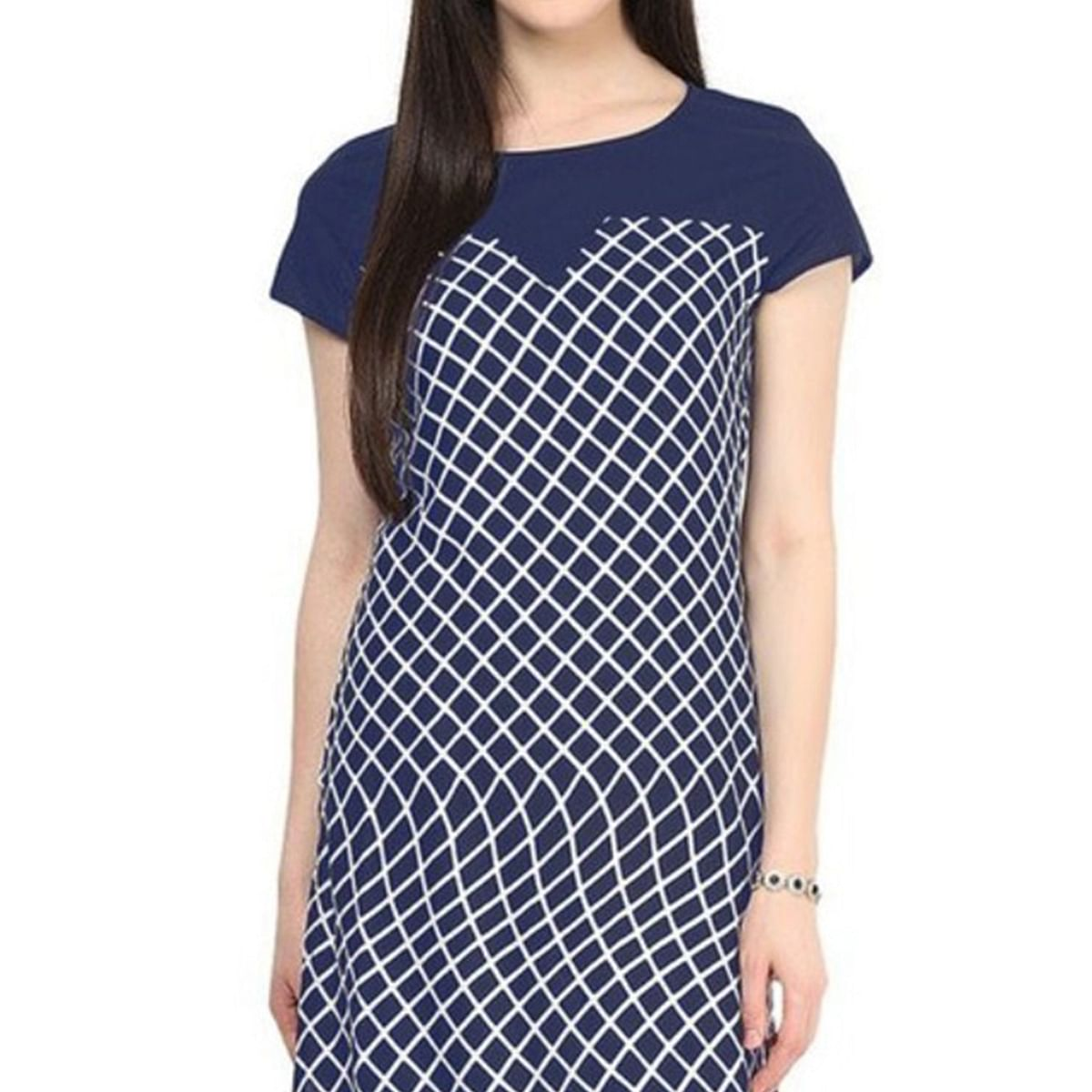 Navy Blue Long Length Kurti
