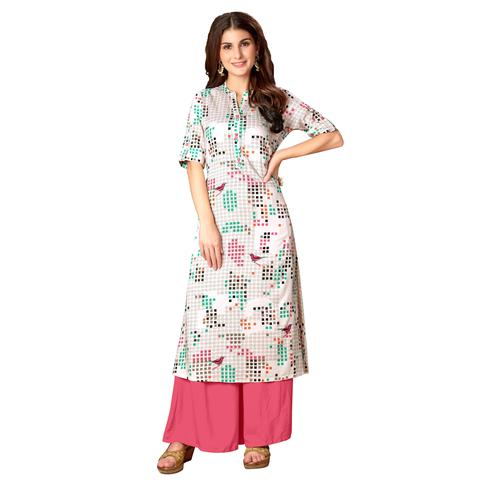 Blissta Women's Off White Coloured Rayon Cotton Printed A Line Kurti With Pocket