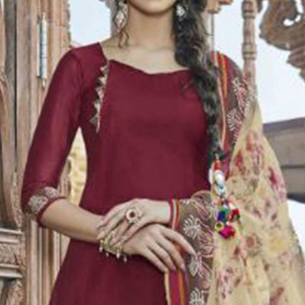 Mesmerising Maroon Colored Casual Wear Printed Heavy Cotton Patiala Dress Material