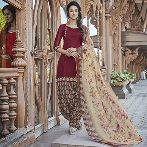 Mesmerising Maroon Colored Casual Wear Printed Heavy Cotton Patiyala Dress Material