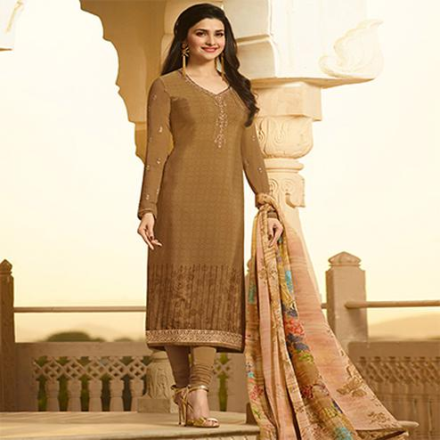 Classy Beige  Embroidered Party Wear Royal Crape Salwar Suit