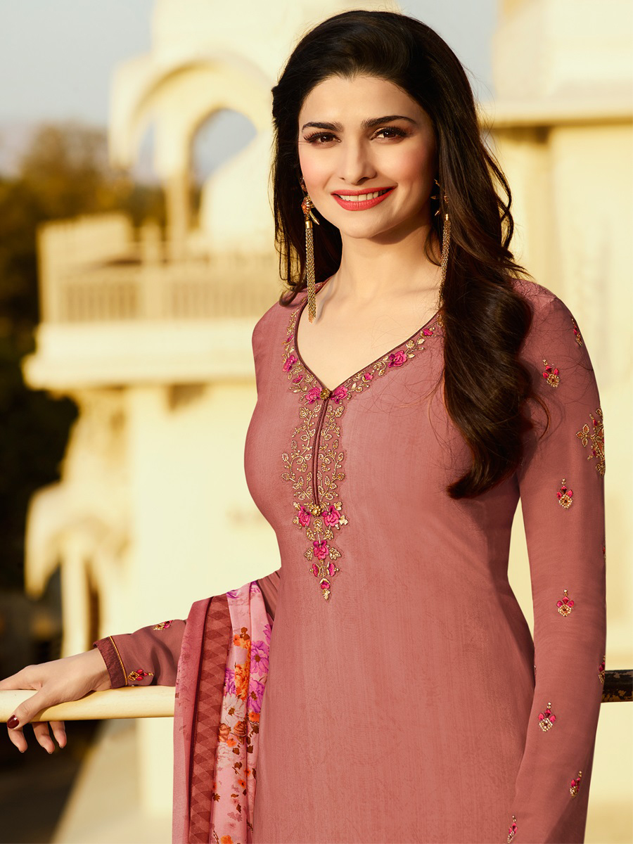 Glorious Peach Embroidered Party Wear Royal Crape Salwar Suit
