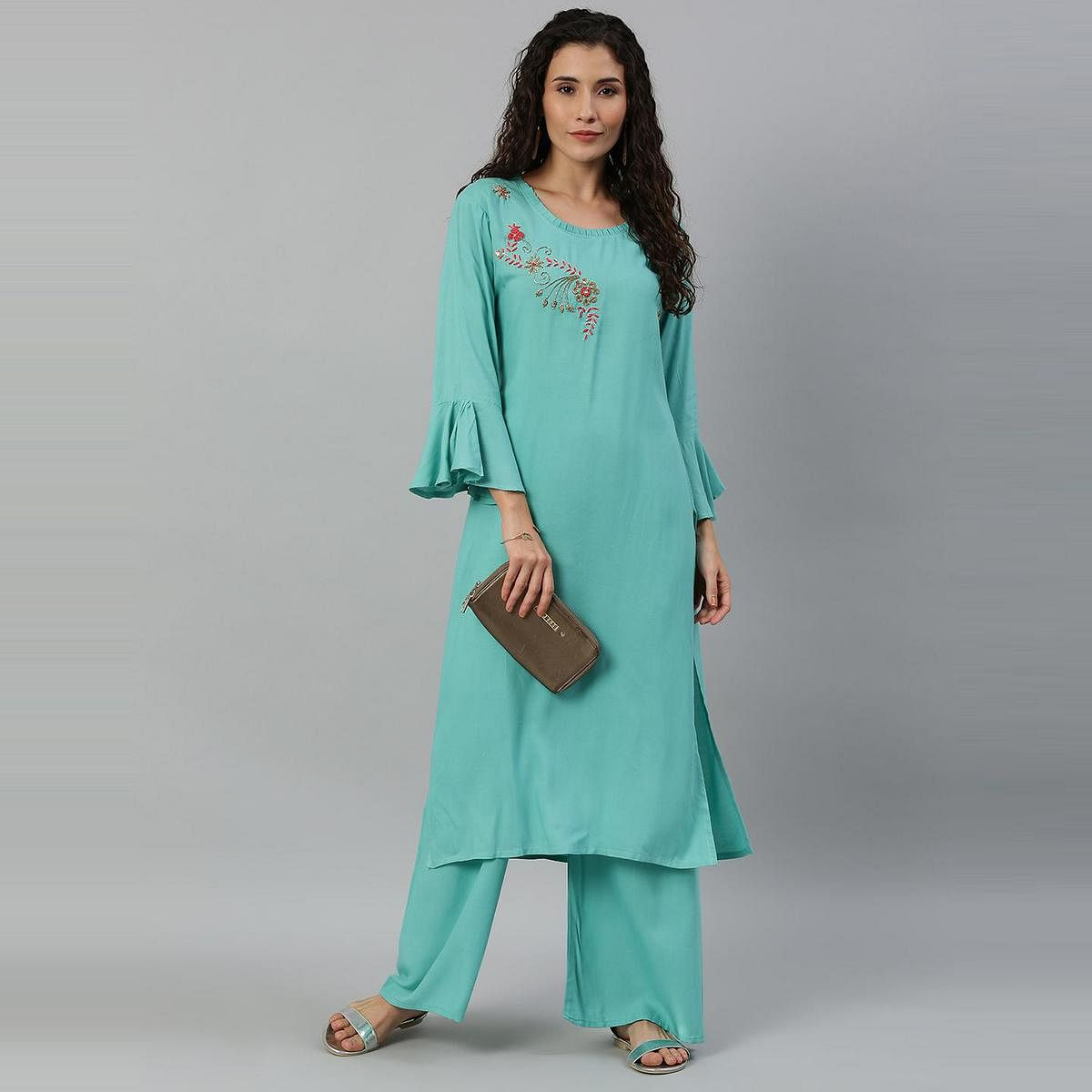 Blissta Women Turquoise Blue Coloured Solid Kurti With Plazzo With Hand Work Detailing
