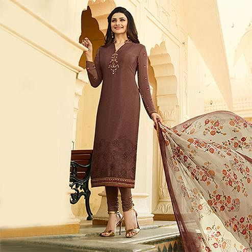 Graceful Brown Embroidered Party Wear Royal Crape Salwar Suit