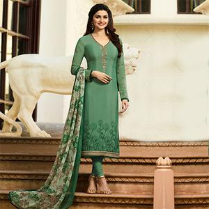 Marvellous Green Embroidered Party Wear Royal Crape Salwar Suit
