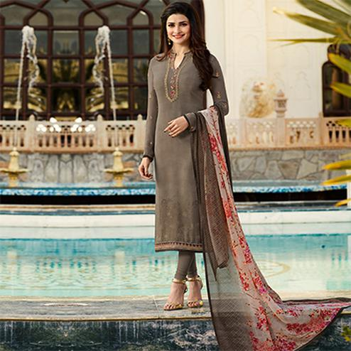 Mesmerising Grey Embroidered Party Wear Royal Crape Salwar Suit