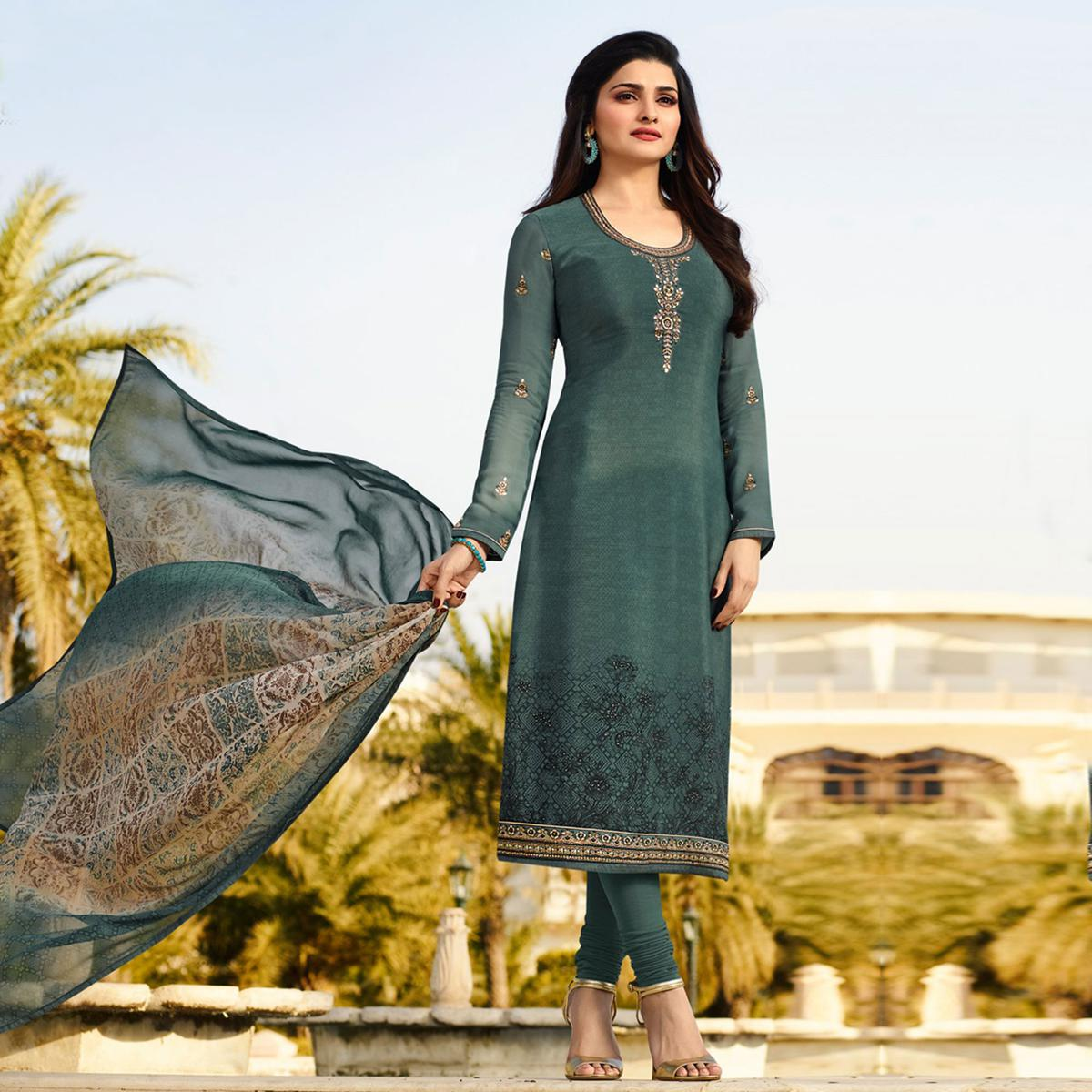 Ravishing Sea Green Embroidered Party Wear Royal Crape Salwar Suit