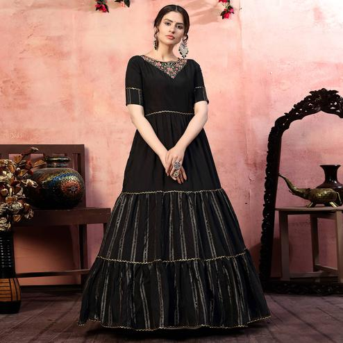 Radiant Black Colored Party Wear Embroidered Silk Anarkali Long Gown