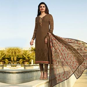 Amazing Tan Color Embroidered Party Wear Royal Crape Salwar Suit