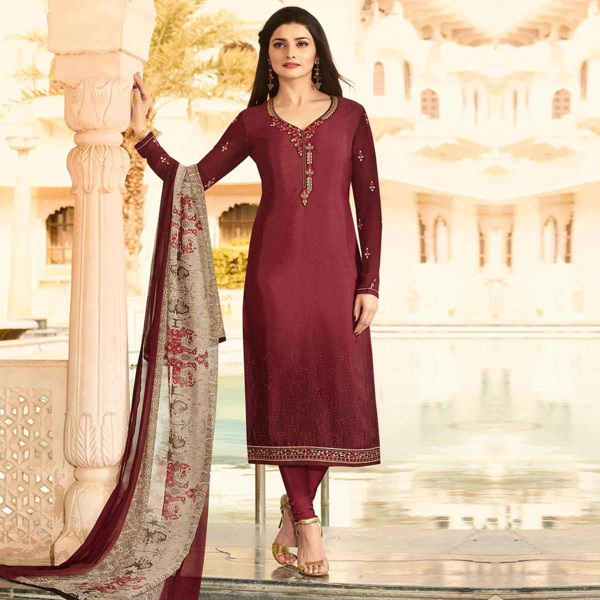 Eye-Catching Maroon Embroidered Party Wear Royal Crape Salwar Suit