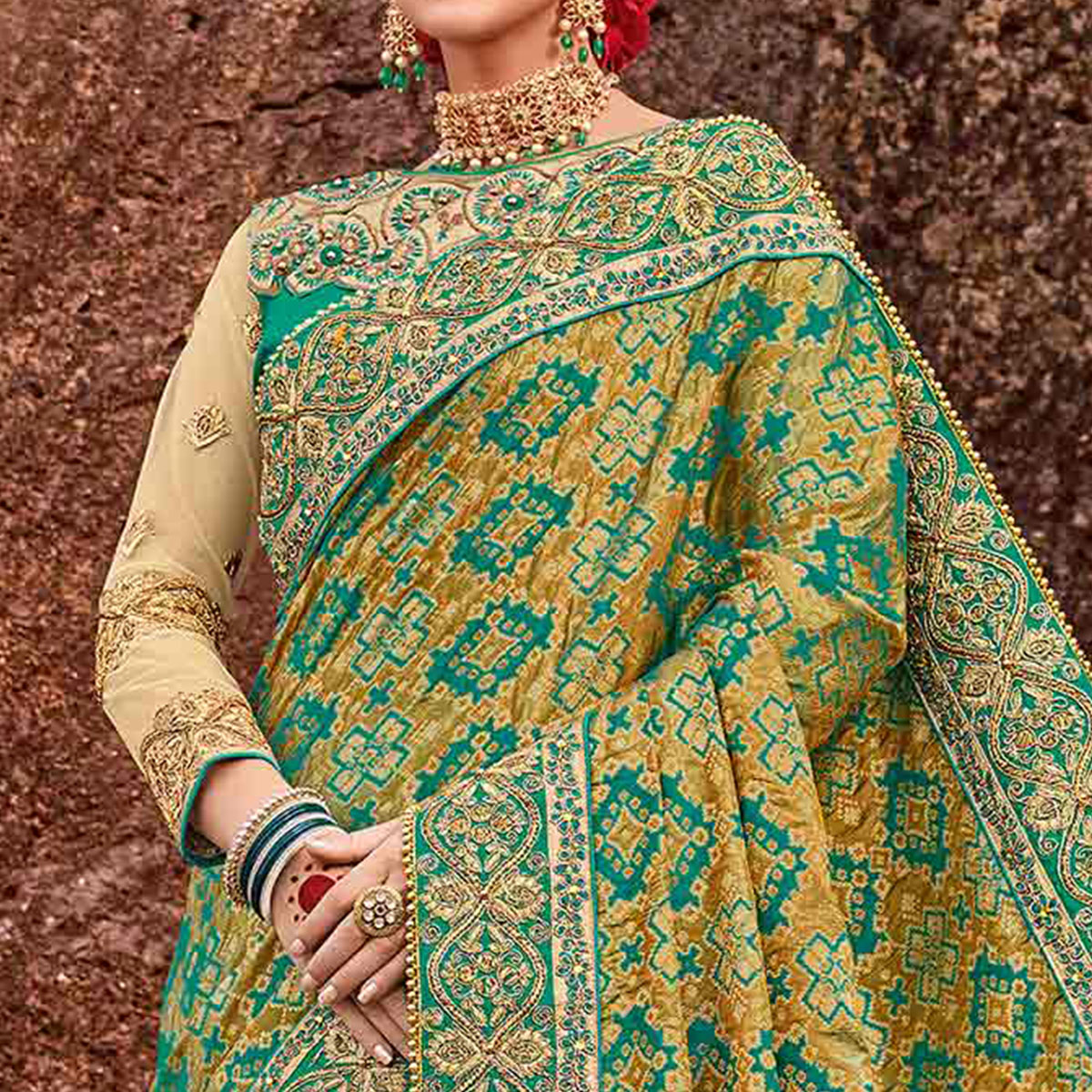 Gorgeous Green Colored Designer Partywear Half N Half Silk Jacquard And Lycra Saree
