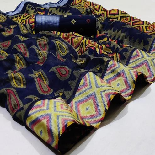 Lovely Navy Blue Colored Casual Wear Printed Heavy Linen Saree