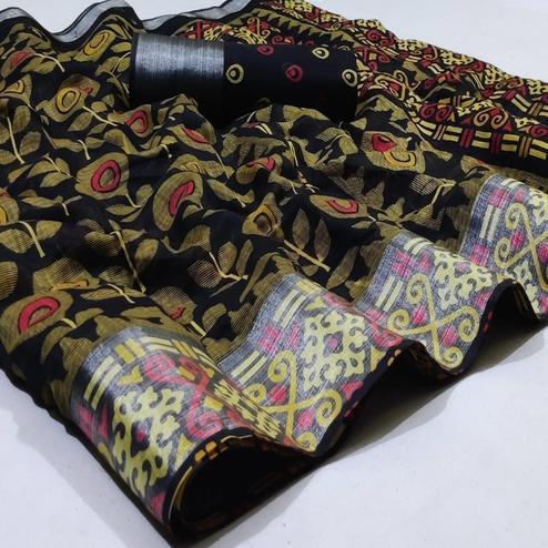 Majesty Black Colored Casual Wear Printed Heavy Linen Saree