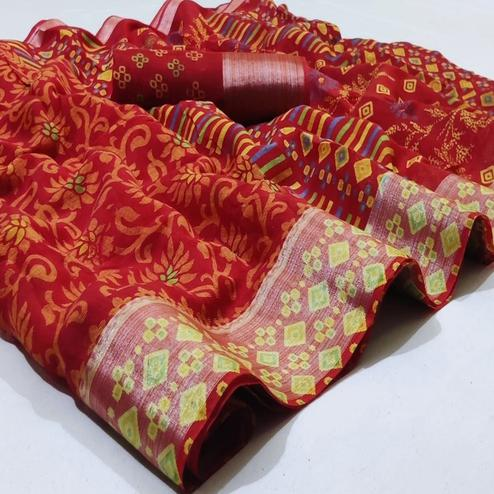 Mesmerising Red Colored Casual Wear Printed Heavy Linen Saree