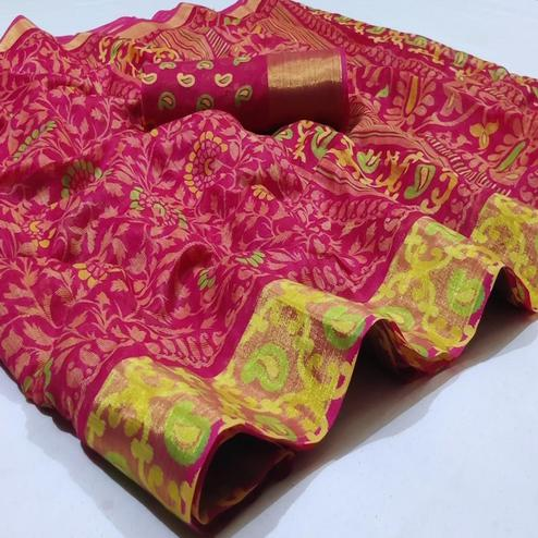 Ethnic Pink Colored Casual Wear Printed Heavy Linen Saree