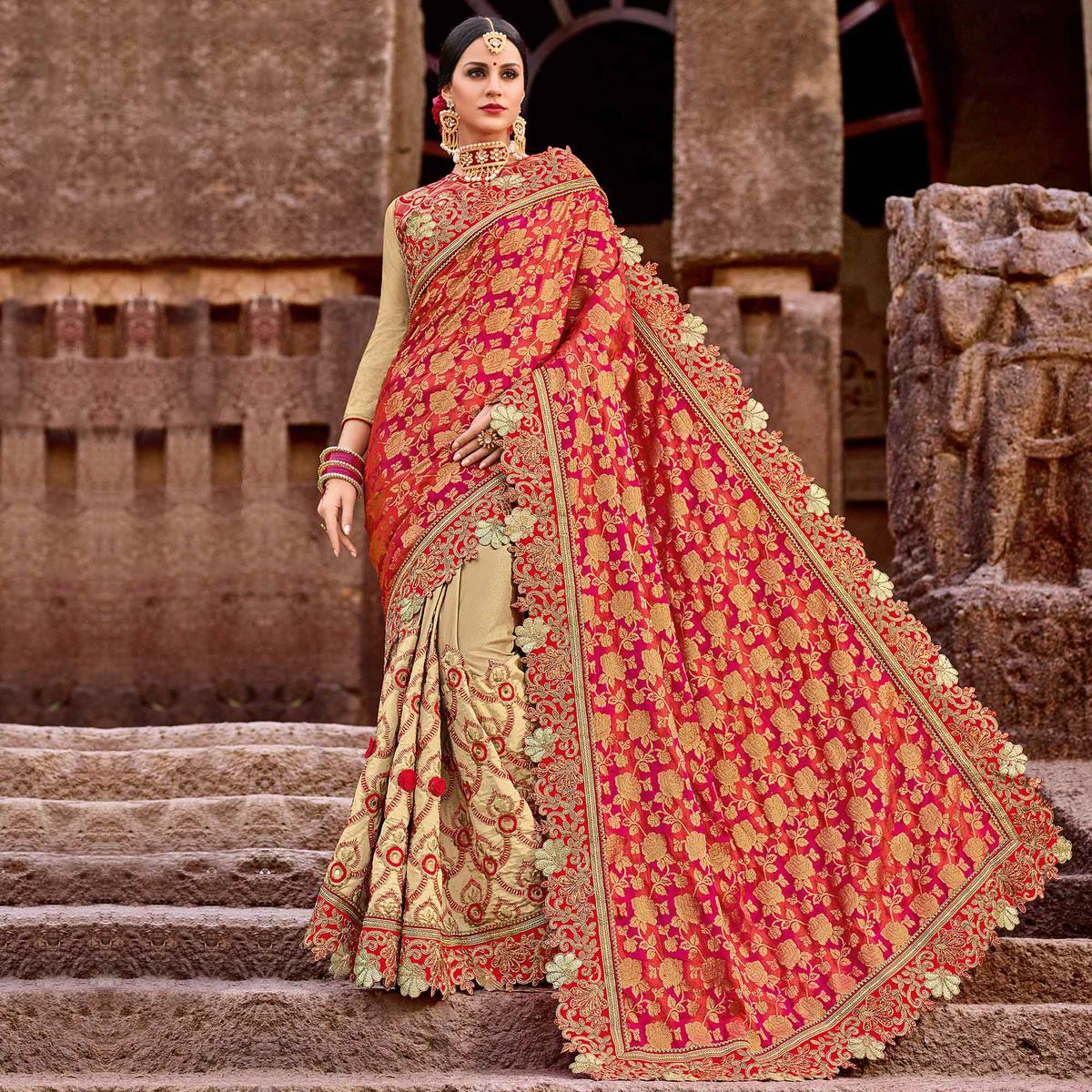 Graceful Red-Beige Colored Designer Partywear Half N Half Silk Jacquard And Lycra Saree