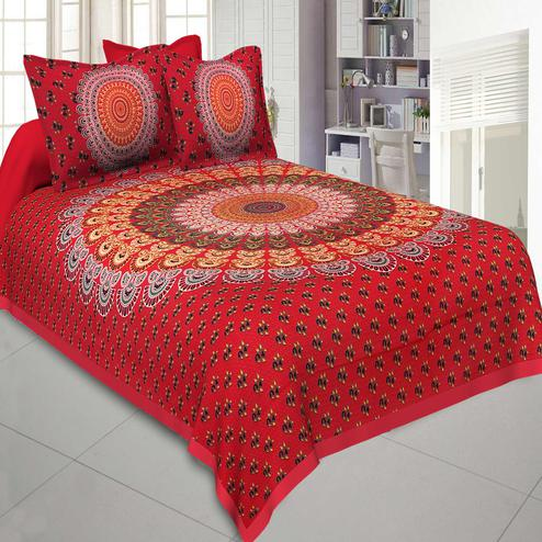 Jaipur Fabric Pure Cotton Red Colored Mandala Tapestry Printed King Size Double Bedsheet With Two Pillow Covers