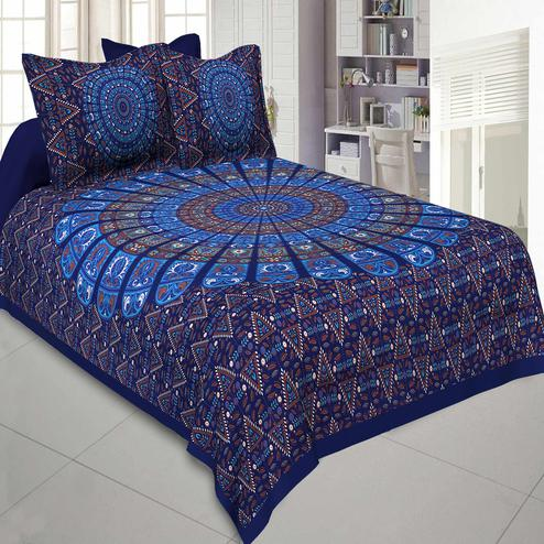 Jaipur Fabric Pure Cotton Blue Colored Mandala Zig Zag Printed King Size Double Bedsheet With Two Pillow Covers