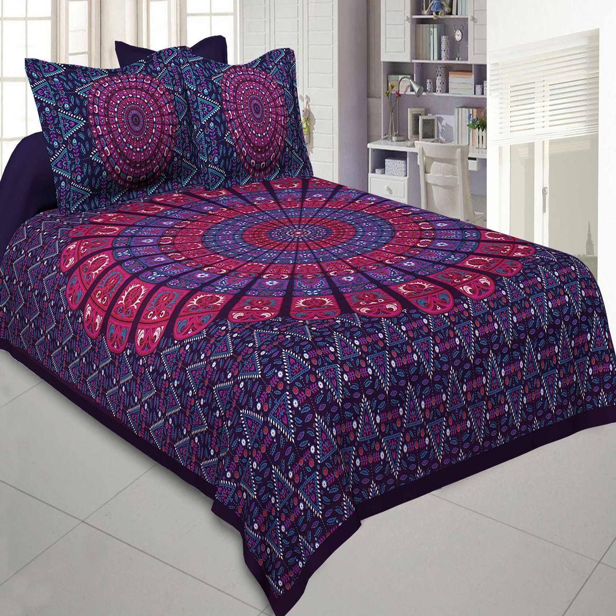 Jaipur Fabric Pure Cotton Purple Colored Mandala Zig Zag Printed King Size Double Bedsheet With Two Pillow Covers