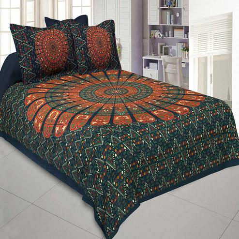 Jaipur Fabric Pure Cotton Green Colored Mandala Zig Zag Printed King Size Double Bedsheet With Two Pillow Covers