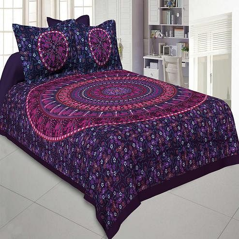 Jaipur Fabric Pure Cotton Purple Colored Mandala Traditional Animal Printed King Size Double Bedsheet With Two Pillow Cover