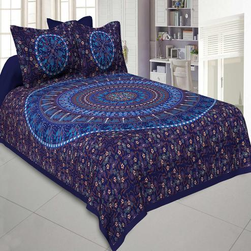 Jaipur Fabric Pure Cotton Blue Colored Mandala Traditional Animal Printed King Size Double Bedsheet With Two Pillow Cover