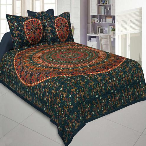 Jaipur Fabric Pure Cotton Green Colored Mandala Traditional Animal Printed King Size Double Bedsheet With Two Pillow Cover