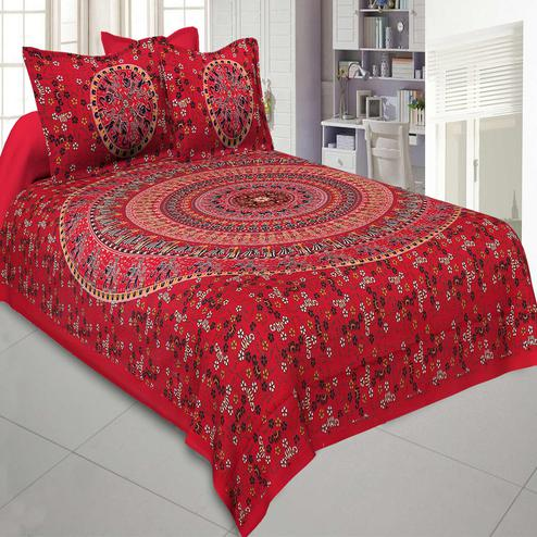 Jaipur Fabric Pure Cotton Red Colored Mandala Traditional Animal Printed King Size Double Bedsheet With Two Pillow Cover