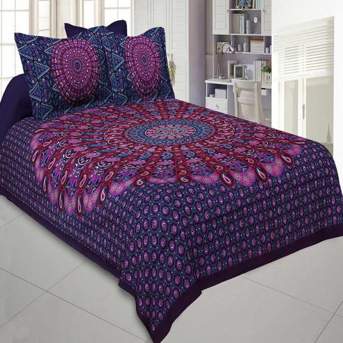Jaipur Fabric Pure Cotton Purple Colored Mandala Traditional King Size Double Bedsheet With Two Pillow Cover