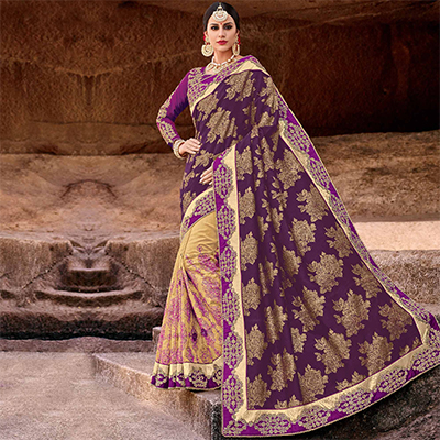 Mesmerising Purple-Beige Colored Designer Partywear Half N Half Silk Jacquard And Lycra Saree