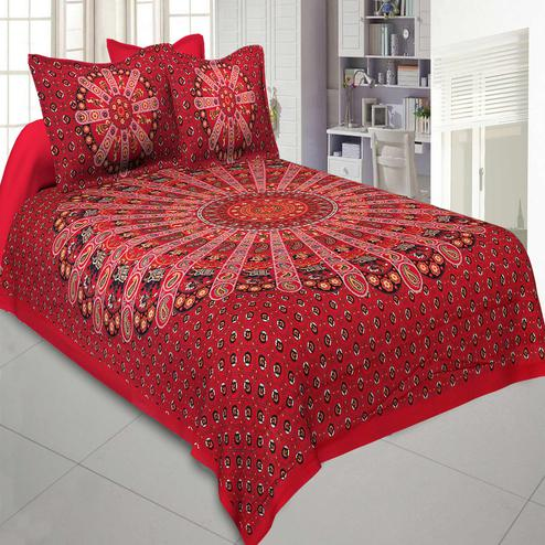 Jaipur Fabric Pure Cotton Red Colored Mandala Traditional King Size Double Bedsheet With Two Pillow Cover