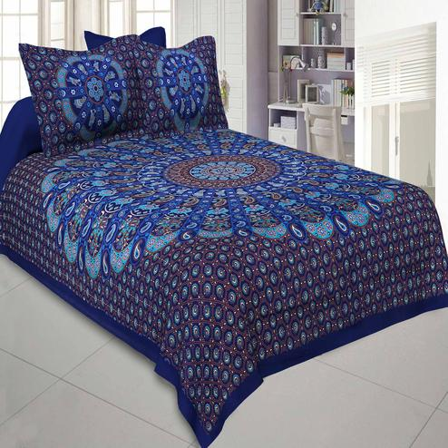Jaipur Fabric Pure Cotton Blue Colored Mandala Traditional King Size Double Bedsheet With Two Pillow Cover