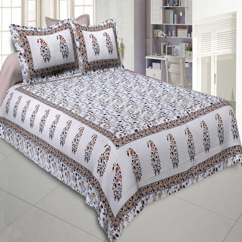 Jaipur Fabric Marble Italica Beige Grey Colored Floral Printeded Double Bedsheet With Two Pillow Cover