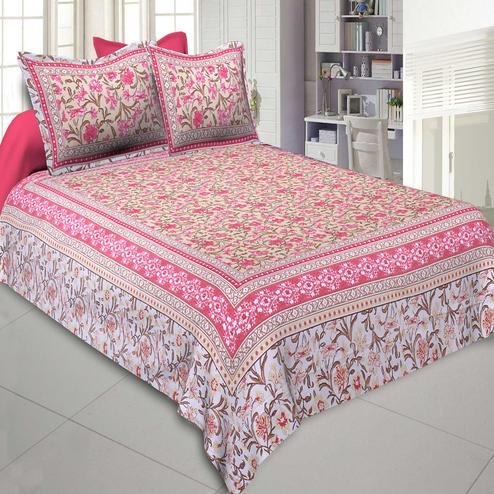 Jaipur Fabric Awesome Leaves Pink Cream Colored Floral Printeded Double Bedsheet With Two Pillow Cover