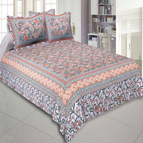 Jaipur Fabric Awesome Leaves Brown Cream Colored Floral Printeded Double Bedsheet With Two Pillow Cover