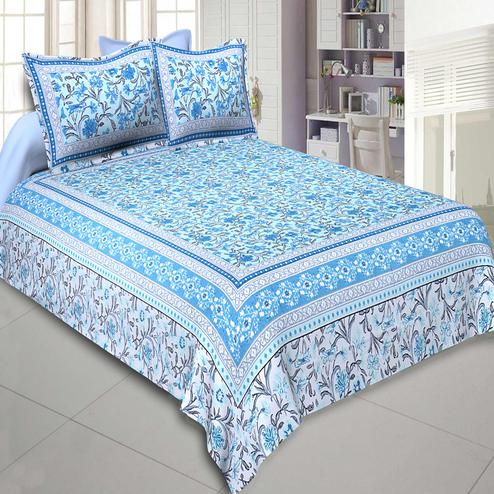 Jaipur Fabric Awesome Leaves Blue Cream Colored Floral Printeded Double Bedsheet With Two Pillow Cover